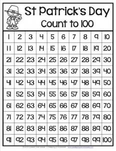 St Patrick's Day Worksheets - Count to 100 Chart