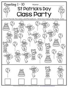 St Patrick's Day Worksheets - Counting 1-10 - Class Party