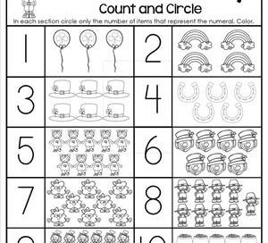 St Patrick's Day Worksheets - Counting 1-10 - Count and Circle