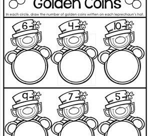 St Patrick's Day Worksheets - Counting 1-10 - Draw Golden Coins