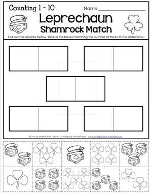 St Patrick's Day Worksheets - Counting to 1-10 - Leprechaun Shamrock Match
