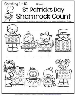 St Patrick's Day Worksheets - Counting 1-10 - Shamrock Count