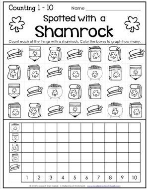 St Patrick's Day Worksheets - Counting 1-10 - Spotted with a Shamrock
