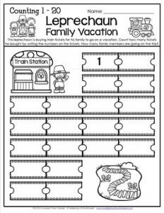 St Patrick's Day Worksheets - Counting 1-20 - Leprechaun Family Vacation