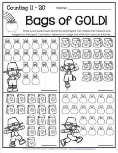 St Patrick's Day Worksheets - Counting 11-20 - Bags of GOLD!