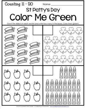 St Patrick's Day Worksheets - Counting 11-20 - St Patty's Day Color Me Green