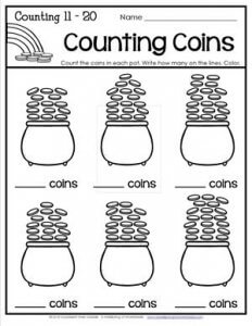St Patrick's Day Worksheets - Counting 11-20 - Counting Coins