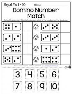 St Patrick's Day Worksheets - Equal To 1-10 - Domino Number Match