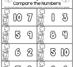 St Patrick's Day Worksheets - Greater Than 1-10 - Lucky Lad Compare the Numbers