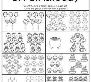 St Patrick's Day Worksheets - Greater Than 1-10