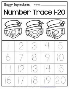 St Patrick's Day Worksheets - Happy Leprechaun Number Trace 1-20