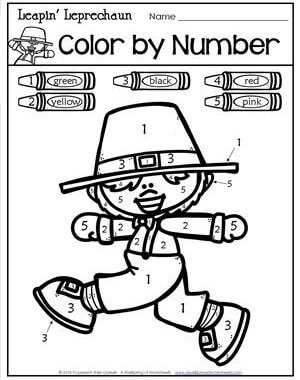 St Patrick's Day Worksheets - Leapin' Leprechaun Color by Number