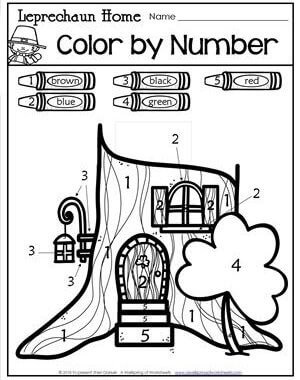 St Patrick's Day Worksheets - Leprechaun Home Color by Number