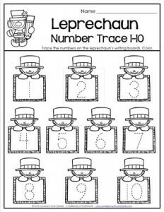 St Patrick's Day Worksheets - Leprechaun Number Trace 1-10