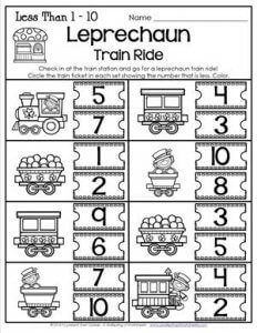 St Patrick's Day Worksheets - Less Than 1-10 - Leprechaun Train Ride