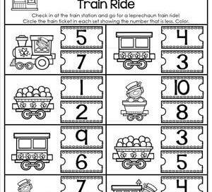 St Patrick's Day Worksheets - Less Than 1-10 - Leprechaun Train Ride