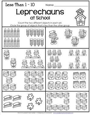 St Patrick's Day Worksheets - Less Than 1-10 - Leprechauns at School