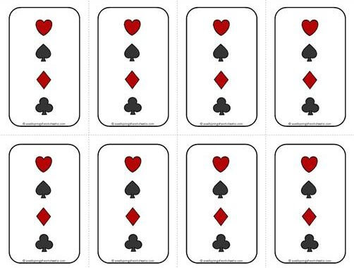 Number Cards 1-20 - Math Cards Games - Deck of Cards Backing #1