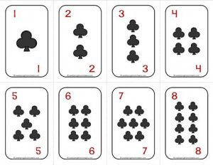 Number Cards 1-20 - Deck of Cards - Clubs/Numbers - Math Card Games