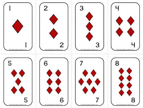 Number Cards 1-20 - Deck of Cards - Diamonds/Numbers - Math Card Games