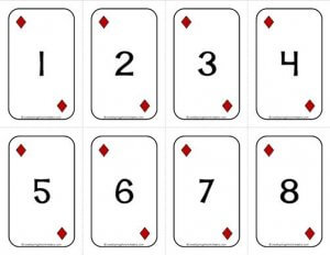 Number Cards 1-20 - Deck of Cards - Numbers/Diamonds - Math Card Games