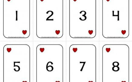 Number Cards 1-20 - Deck of Cards - Numbers/Hearts - Math Card Games