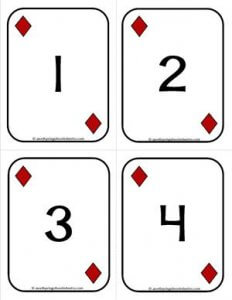 Number Cards 1-20 - Playing Cards - Numbers Diamonds - Math Card Games