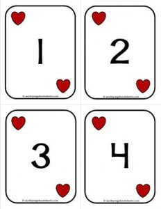 Number Cards 1-20 - Playing Cards - Numbers Hearts - Math Card Games