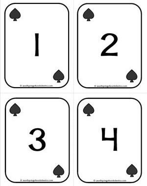 Number Cards 1-20 - Playing Cards - Numbers Spades - Math Card Games