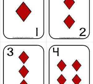 Number Cards 1-20 - Playing Cards - Suits Diamonds - Math Card Games