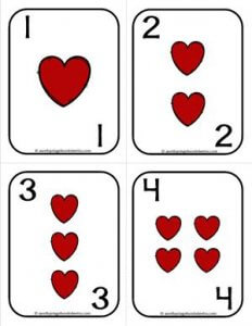 Number Cards 1-20 - Playing Cards - Suits Hearts - Math Card Games
