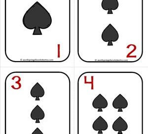 Number Cards 1-20 - Playing Cards - Suits Spades - Math Card Games