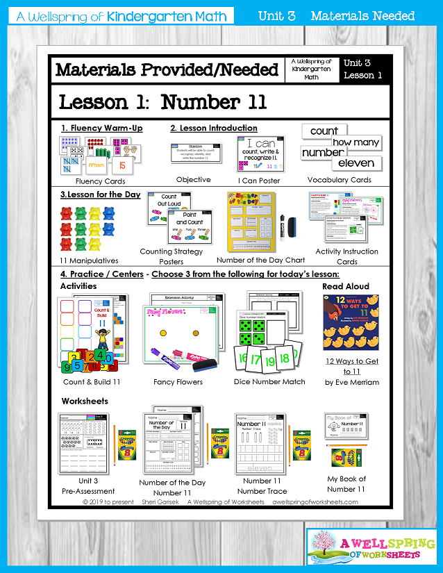 Kindergarten Math Curriculum | Numbers 11-20 | Materials Provided/Needed