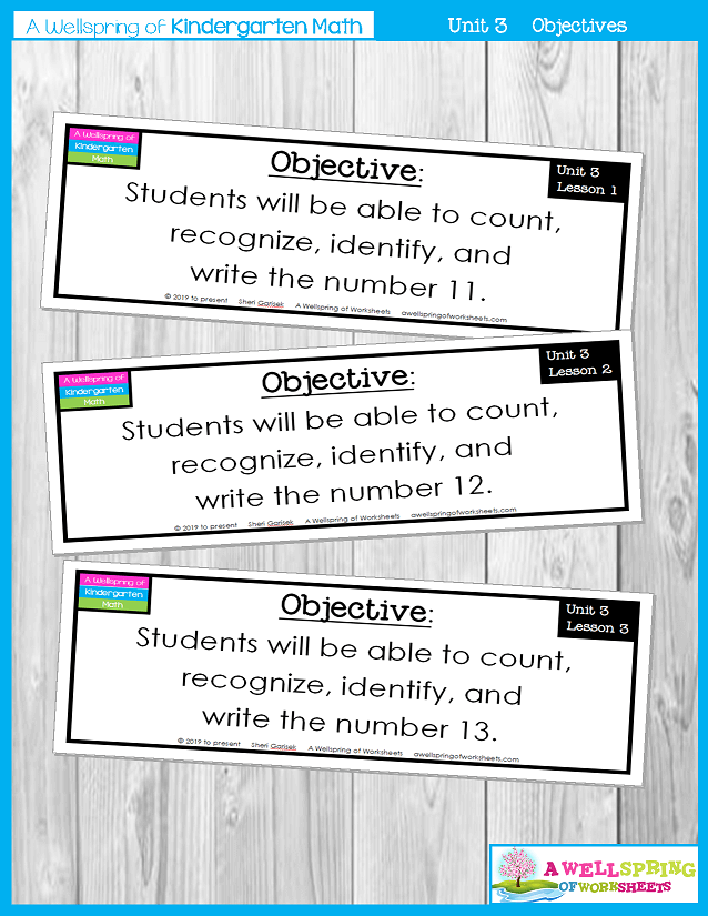 Kindergarten Math Curriculum | Numbers 11-20 | Objectives