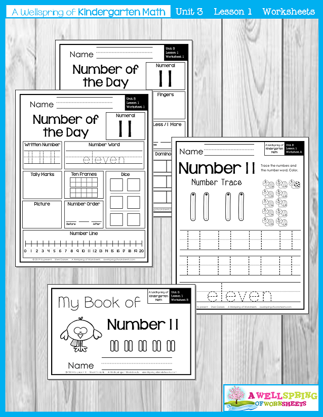 Kindergarten Math Curriculum | Numbers 11-20 | Worksheets per Lesson