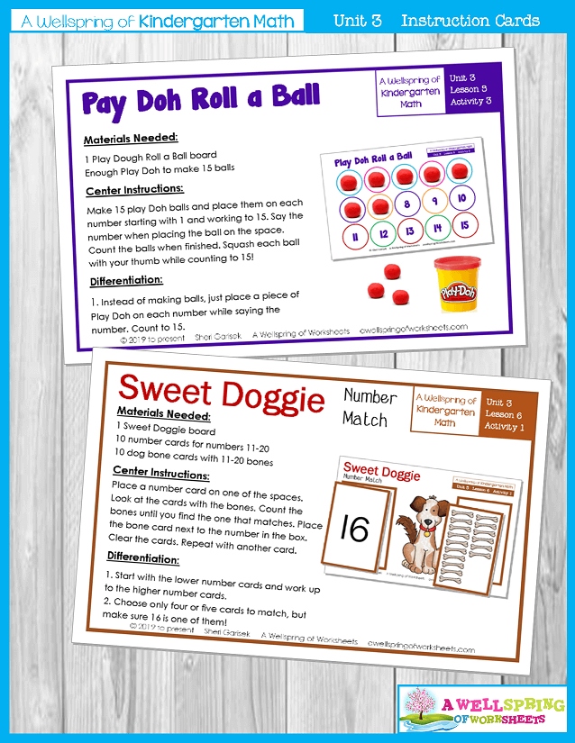 Kindergarten Math Curriculum | Numbers 11-20 | Instruction Cards