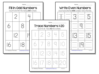 Tracing Numbers 1-20 Worksheets