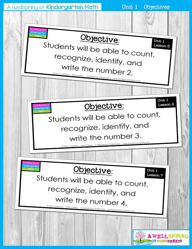 Kindergarten Math Curriculum | Numbers 0-5 | Objectives