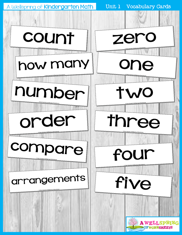 Kindergarten Math Curriculum | Numbers 0-5 | Vocabulary Cards