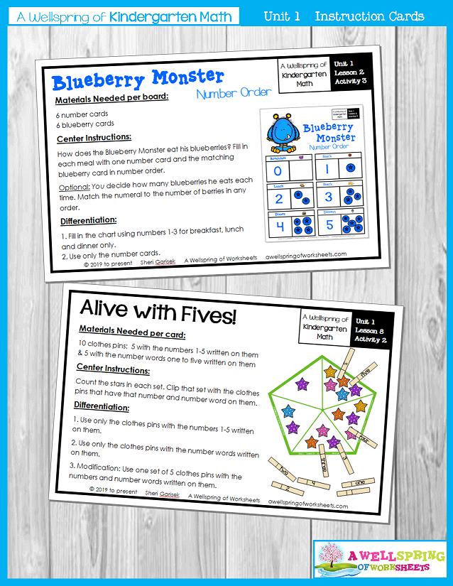 Kindergarten Math Curriculum | Numbers 0-5 | Instruction Cards