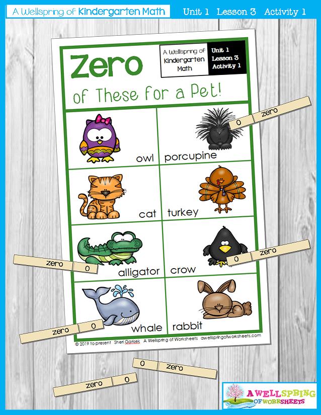 Kindergarten Math Curriculum | Numbers 0-5 | Lesson 3 - Activity 1