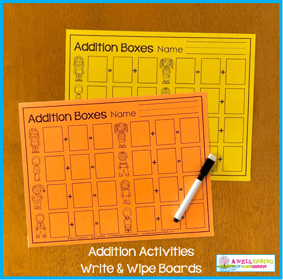 Kindergarten Addition Activities - Addition Boxes Worksheets Turned Write & Wipe Mats