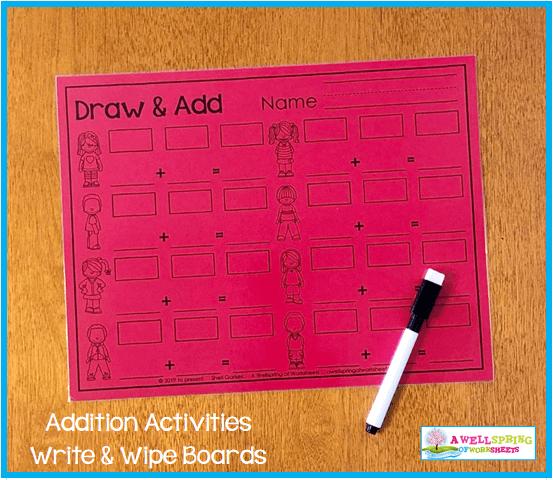 Kindergarten Addition Activities - Draw & Add Worksheet Turned Write & Wipe Mat
