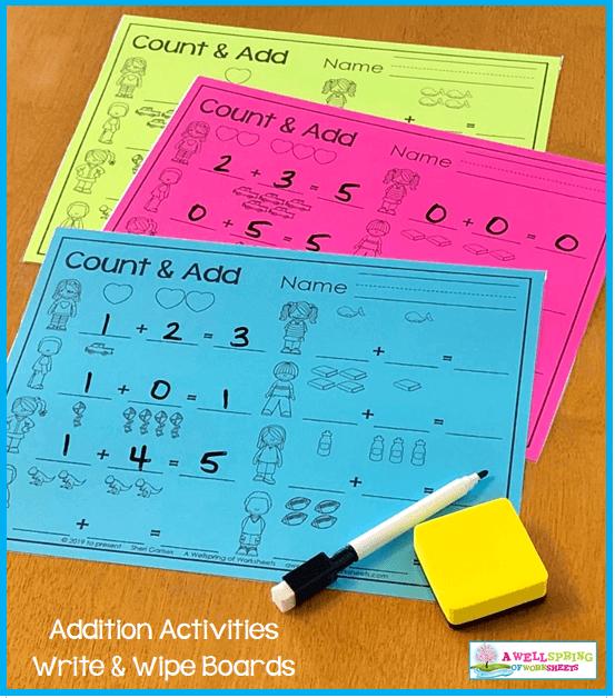Kindergarten Addition Activities - Count & Add Worksheets Turned Write & Wipe Mats