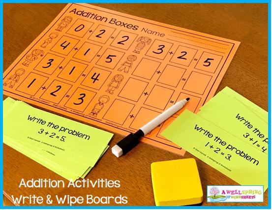 Kindergarten Addition Activities - Addition Boxes Write & Wipe Mat