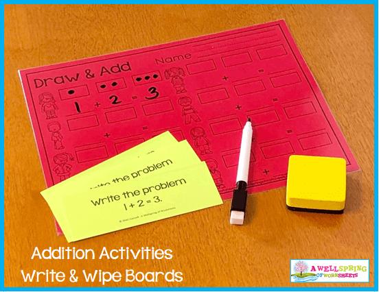 Kindergarten Addition Activities - Draw & Add Write & Wipe Mat