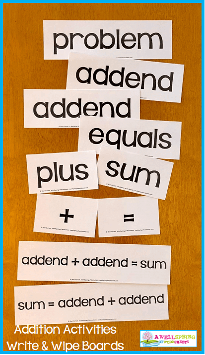Kindergarten Addition Activities - Vocabulary Cards in Black and White