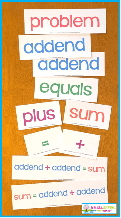 Kindergarten Addition Activities - Vocabulary Cards in Color