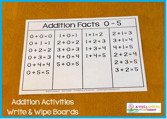 Kindergarten Addition Activities - Addition Facts Chart