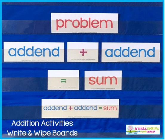 Kindergarten Addition Activities - Lesson Vocabulary